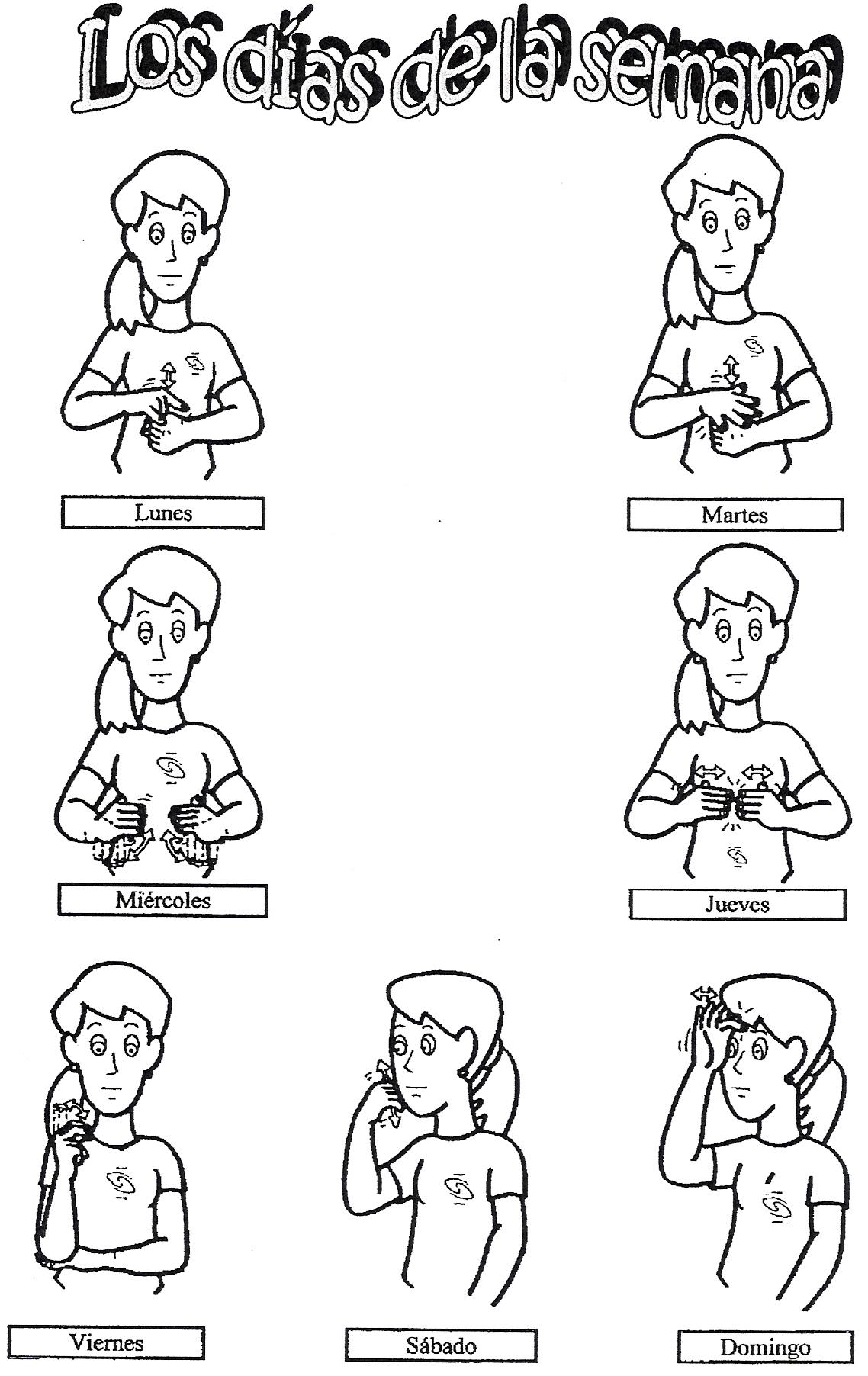Los días de la semana en lengua de signos